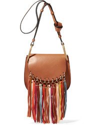Chloé Hudson Tasseled Leather Shoulder Bag Light Brown