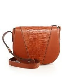 Vince Modern V Small Lizard Embossed Leather Smooth Leather Crossbody Bag
