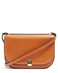 Topshop Oxford Faux Leather Crossbody Saddle Bag Brown