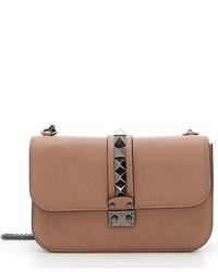 Valentino Garavani Rockstud Medium Lock Leather Shoulder Bag Brown