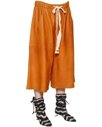 Loewe Cropped Nappa Leather Wide Leg Pants