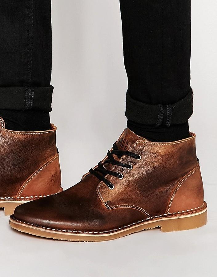 fcb0ee9abf2 $89, Jack and Jones Jack Jones Gene Leather Desert Boots