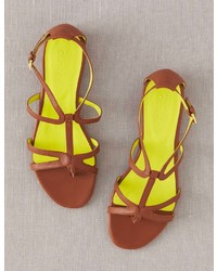 Boden Brand New Leather T Bar Sandals Tan Flat