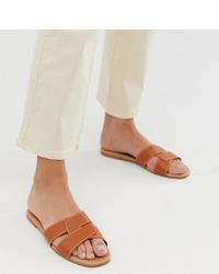 New Look Cross Flat Slider Sandal In Tan