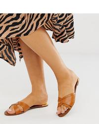 Stradivarius Leather Flat Sandals
