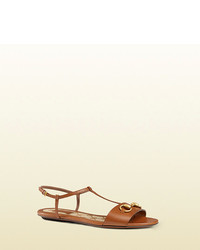 56b47a416262 Women s Tobacco Leather Flat Sandals by Gucci