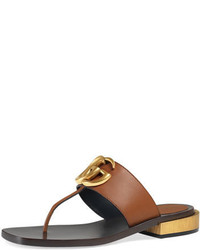 0c930b6208eed Women s Tobacco Leather Flat Sandals by Gucci