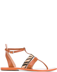 Twin-Set Zebra Strap Flat Sandals