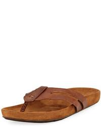 John Varvatos Artisan Leather Thong Sandal Brown