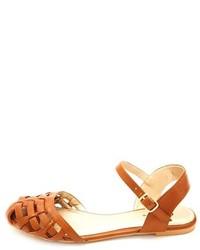 6996c48ee2e ... Qupid Flat Ankle Strap Huarache Sandals ...