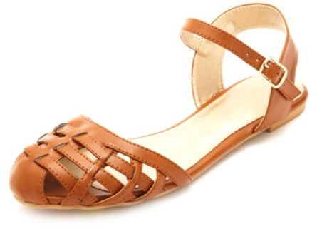94debda6d30a ... Charlotte Russe › Qupid › Tobacco Leather Gladiator Sandals Qupid Flat  Ankle Strap Huarache Sandals ...