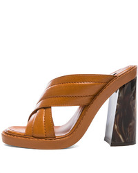 Tobacco Leather Heeled Sandals