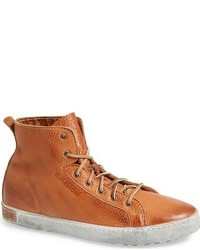 Tobacco Leather High Top Sneakers