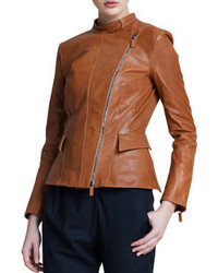 Asymmetric zip leather jacket light brown medium 109354