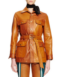 Chloé Chloe Button Front Belted Leather Jacket Ochre