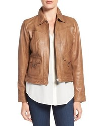 Flap pocket leather trucker jacket medium 785334