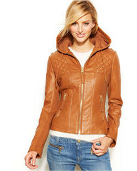 MICHAEL Michael Kors Michl Michl Kors Hooded Leather Motorcycle Jacket