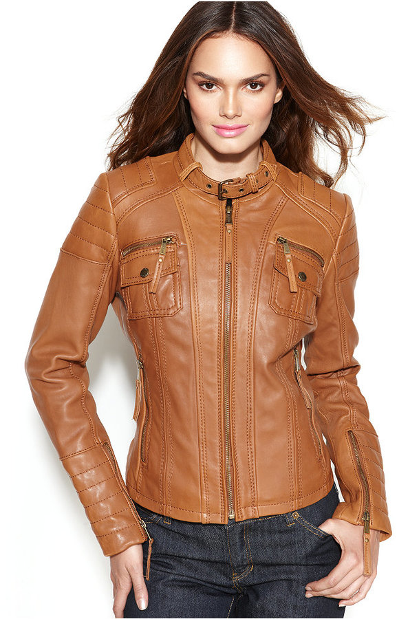 8119b3c2 ... MICHAEL Michael Kors Michl Michl Kors Leather Buckle Collar Motorcycle  Jacket ...