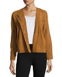 Vince Nubuck Leather Jacket Brown