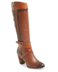 Tobacco Leather Knee High Boots
