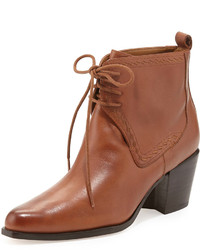 Tobacco Leather Lace-up Ankle Boots