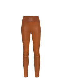 Sprwmn Brown High Waisted Leather Leggings