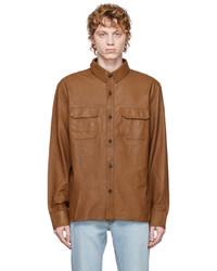 Officine Generale Brown Leather Aml Jacket