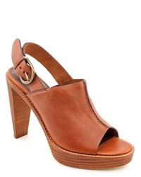 Cole Haan Stephanie Airotclg Brown Leather Mules Heels Shoes