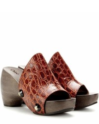 Chloé Embossed Leather Platform Clogs