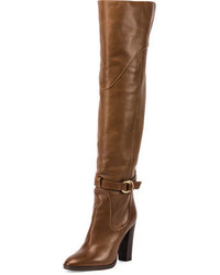 Chloe buckle leather over the knee boot dark khaki medium 692908