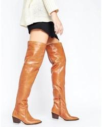 Aldo Deedee Western Leather Over The Knee Boots