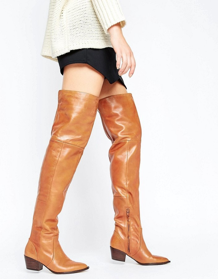 a687a34d09d ... Aldo Deedee Western Leather Over The Knee Boots ...