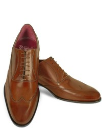 Handmade brown italian leather wingtip oxford shoes medium 158679
