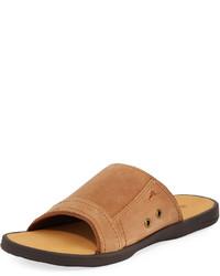 Tommy Bahama Sumatraa Leather Slide Sandal Brown