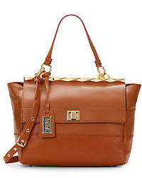 Badgley Mischka Piper Leather Top Bar Satchel