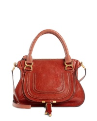 Chloé Marcie Snake Embossed Leather Satchel