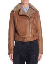 Shearling leather moto jacket medium 3725883