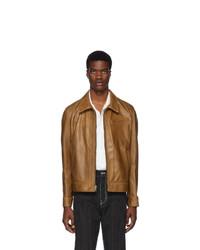 Tobacco Leather Shirt Jacket