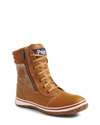 Tobacco Leather Snow Boots
