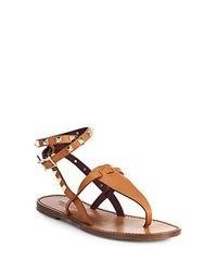 Tobacco Leather Thong Sandals