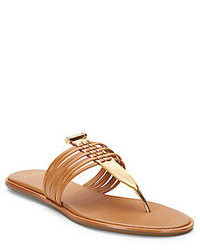 AERIN Saia Metallic Leather Thong Sandals