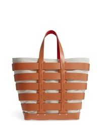 Paco Rabanne Cage Leather Canvas Tote