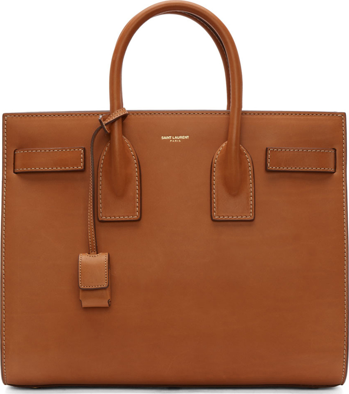 Saint Laurent Cognac Leather Sac Du Jour Small Tote Bag | Where to ...