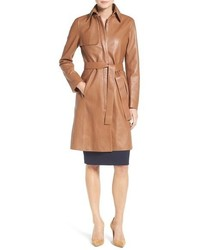 Tobacco Leather Trenchcoat