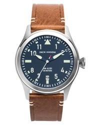 Jack Mason Aviation Leather Strap Watch