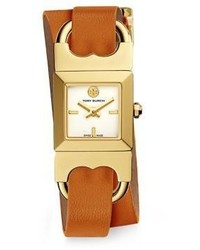 Tory Burch Double T Link Duo Strap Goldtone Stainless Steel And Parrot Leather Strap Watch