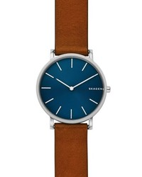 Skagen Hagen Slim Leather Strap Watch