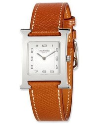 Hermes Heure H Stainless Steel Leather Strap