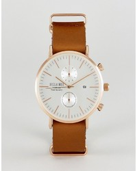 Reclaimed Vintage Inspired Chronograph Leather Watch In Brown To Asos