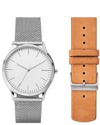 Skagen Jorn Mesh Leather Strap Watch Set 41mm